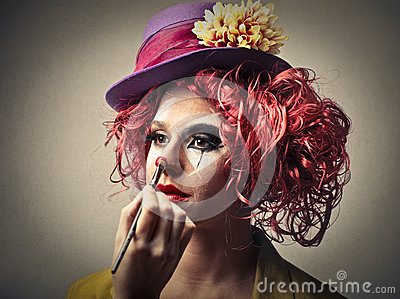 clown putting on some make up stock image image 35806521. Black Bedroom Furniture Sets. Home Design Ideas