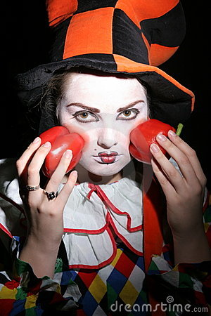 Clown with red peppers
