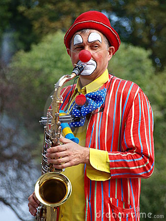 Clown saxophonist, Lublin, Poland Editorial Image