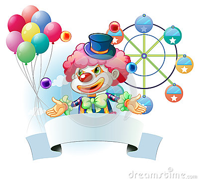 A clown with a signage and a ferris wheel and balloons at the ba