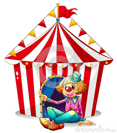 A clown sitting in front of a red circus tent