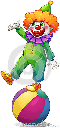 A clown standing above the ball