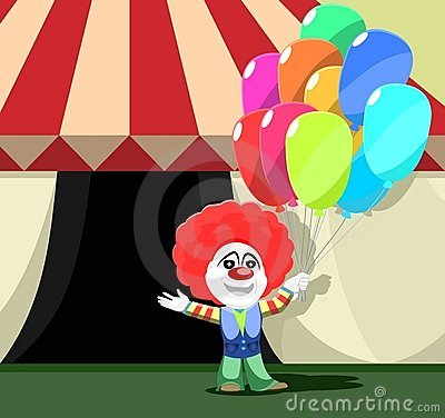 Clown Stands Outside Circus Tent Colorful Balloons