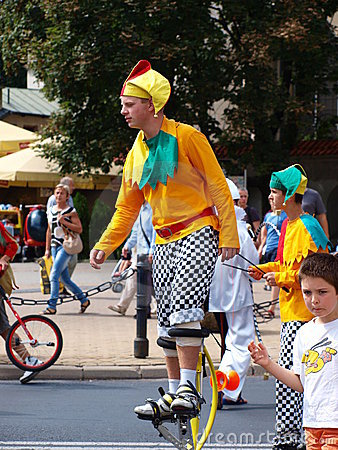Clown on stilts, Lublin, Poland Editorial Image