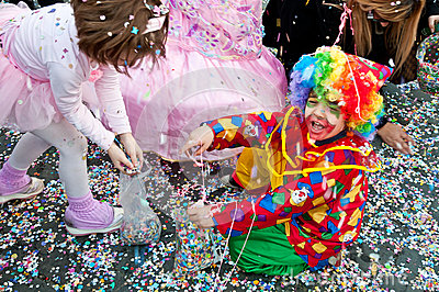 Clown surrounded by confettis Editorial Stock Photo