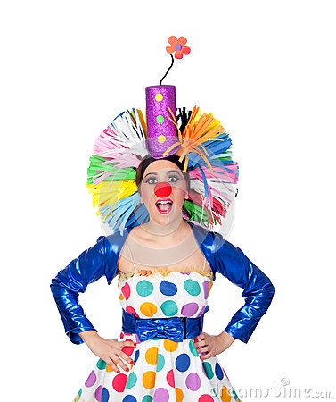 clown drle de fille avec une grande perruque colore image libre de droits image 29429896 - Perruque Colore