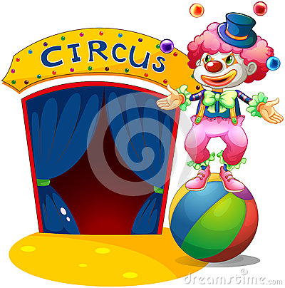 A clown at the top of a stripe ball