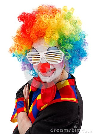 Clown with white funny shutter shades sunglasses