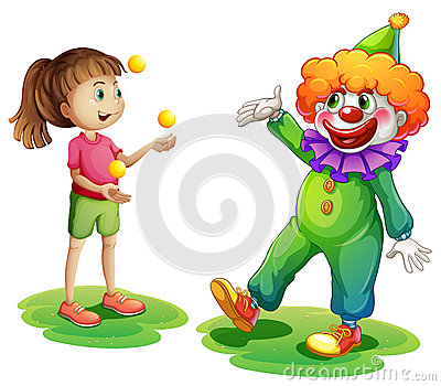A clown and a young girl