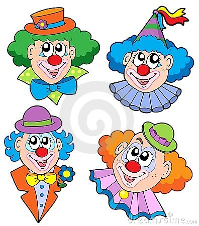 Free Clowns Head Collection Royalty Free Stock Photo - 7481875