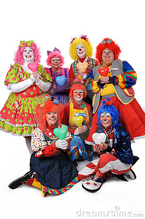 Clowns Holding Hearts