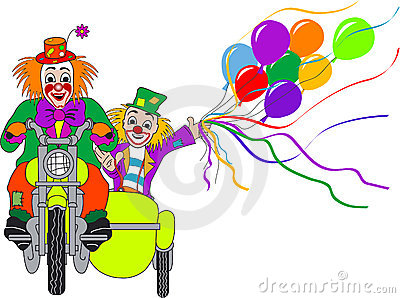 Clowns on motor bike