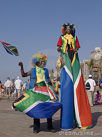 Clowns in South African Flags Editorial Photography