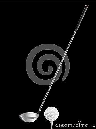 Club de golf y bola en negro