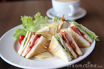 Club sandwich with coffee
