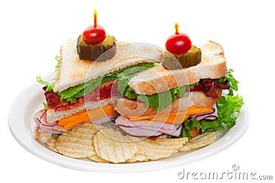 Club sandwich on white