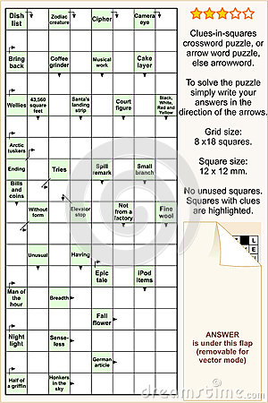 Clues-in-squares crossword puzzle, or arrowword