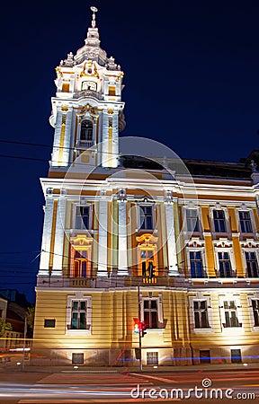 Cluj-Napoca City Hall, nighttime view Editorial Stock Image