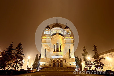 Cluj Napoca Orthodox Cathedral by night Editorial Photo
