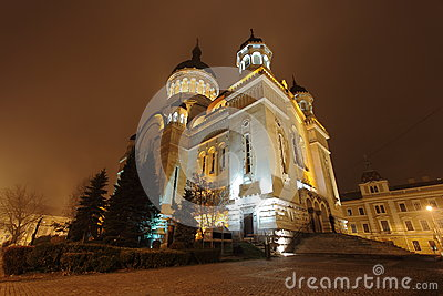 Cluj Napoca Orthodox Cathedral by night Editorial Photography
