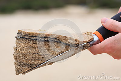 Sand layers on trowel