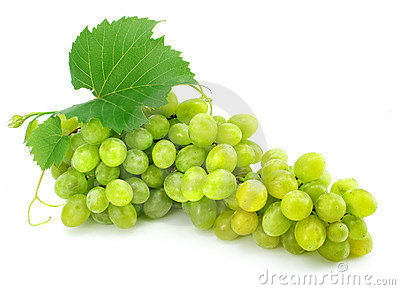 Cluster of green grape isolated on white