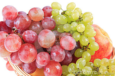 Clusters of red and green grapes.