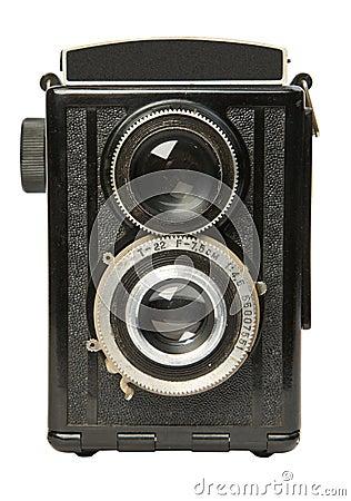 Câmera de reflexo gêmea velha 2 da lente