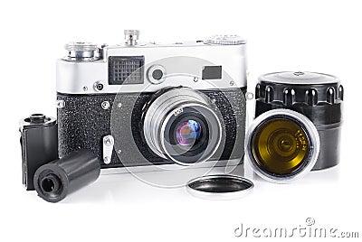 Câmera velha do rangefinder de 35 milímetros