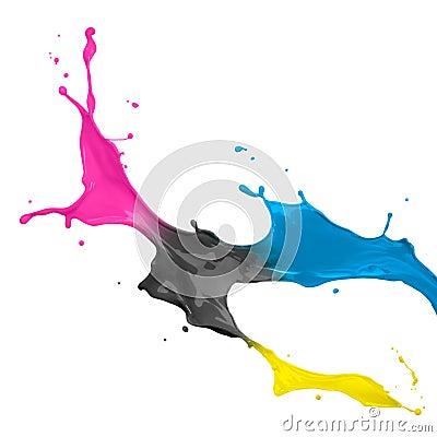 Cmyk παφλασμός χρωμάτων