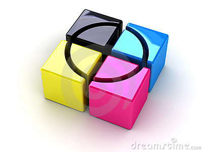 CMYK boxes with a cross
