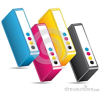 CMYK CMJN colors printing icon.