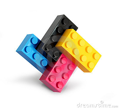 Cmyk color lego blocks