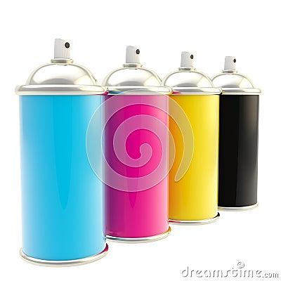 CMYK color spray typographic oil paint