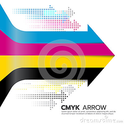 Free CMYK (cyan And Magenta And Yellow And Key Or Black) Arrow Line And Dot Arrow Vector Art Design Royalty Free Stock Images - 74596309