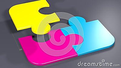 CMYK-Drucken färbt auf 4 Puzzlespiel-Stücken