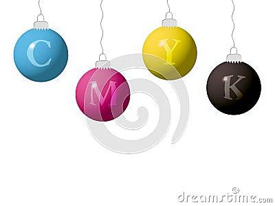 CMYK new year balls