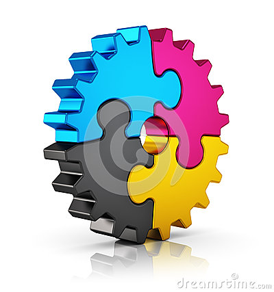 Free CMYK Puzzle Gear Royalty Free Stock Photos - 33949568