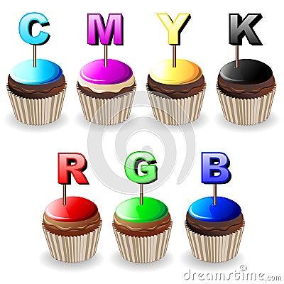 CMYK RGB Cupcakes Colors Palette
