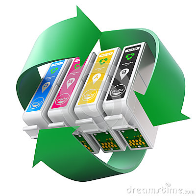 Free CMYK Set Of Cartridges With Recycling Symbol Stock Images - 66871864