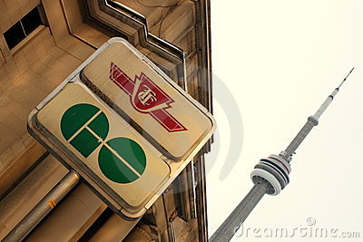 CN Tower and GO Transit Sign Editorial Stock Image