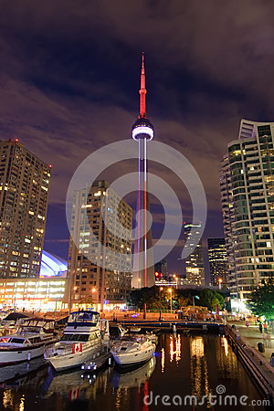 CN Tower Lit at Night Editorial Photo