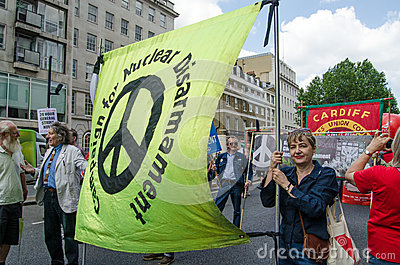 CND Banner, protest march Editorial Stock Photo
