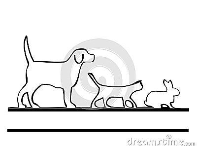 Cão e coelho do gato