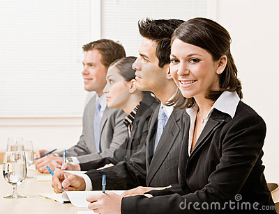 Co-workers in meeting