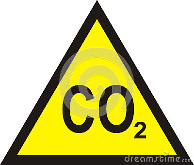 CO2 yellow triangular warning sign , carbon dioxide warning sign Cartoon Illustration