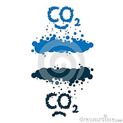 CO2 written as a smoke clouds