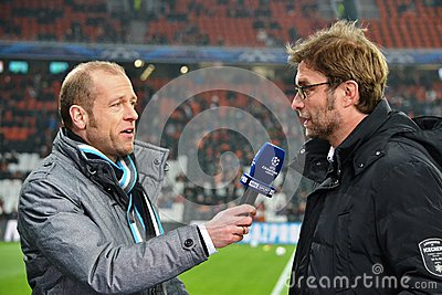 Coach Jurgen Klopp is interviewed Editorial Image
