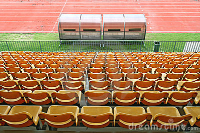 Coach and reserve benches in football stadium