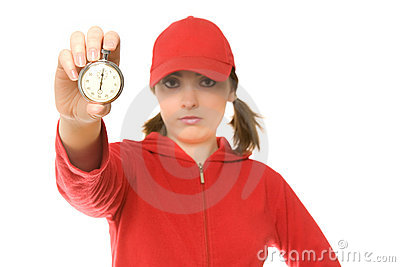 Coach with stopwatch (focus on stopwatch)